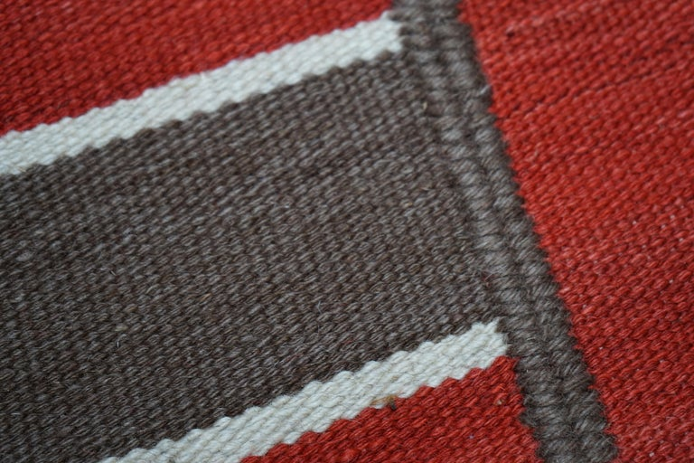 Hand-Woven Modern Handwoven Red Kilim Rug with Minimalist Design For Sale