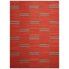 Modern Handwoven Red Kilim Rug with Minimalist Design