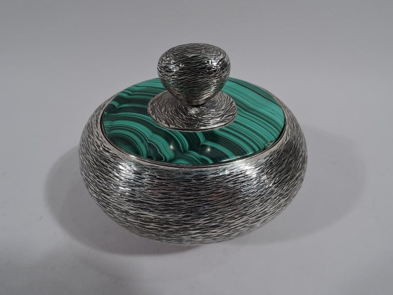 American Modern Handwrought Sterling Silver & Malachite Box by New York Maker For Sale