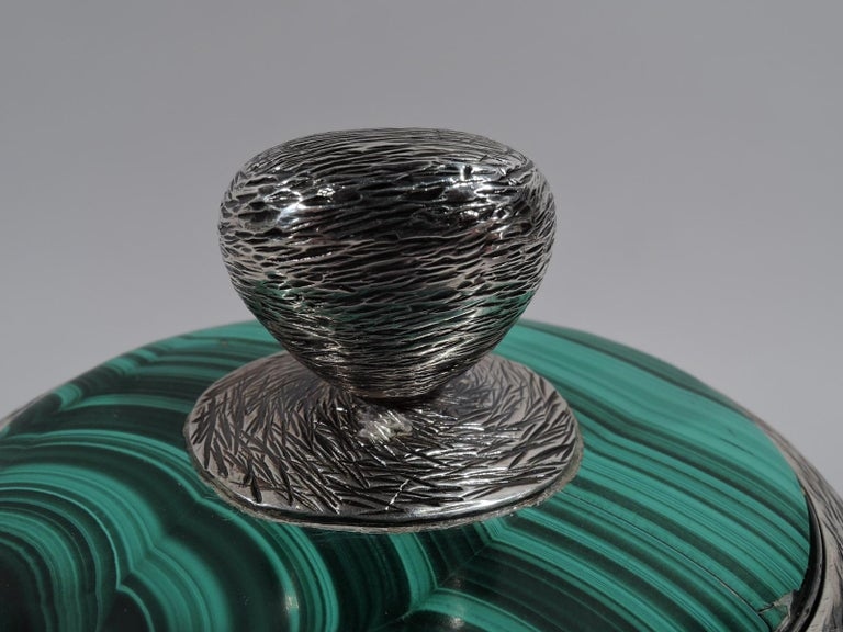 20th Century Modern Handwrought Sterling Silver & Malachite Box by New York Maker For Sale