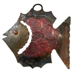 Modern Hanging Metal Small Fish Sculpture Mexico 1970s Los Castillo Vintage