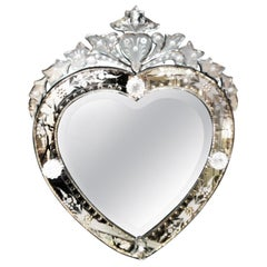 Modern Heart Shaped Venetian Mirror