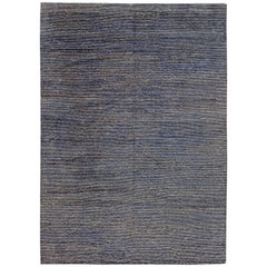 Modern Hemp and Silk Rug in Indigo and Sky Blue Stripes