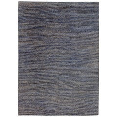 Modern Hemp and Silk Striped Indigo and Sky Blue Rug