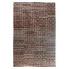 Modern Hemp Striped Dark Brown Rug