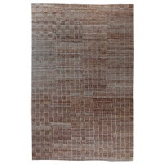 Modern Hemp Striped Dark Brown Rug