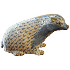 "Modern Herend Hand Painted Porcelain ""Badger"" Figurine, Hungary"
