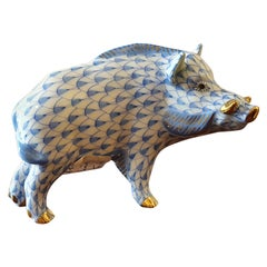 "Modern Herend Hand Painted Porcelain ""Wild Boar"" Figurine, Hungary"