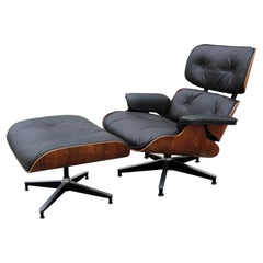 Modern Herman Miller 670 Brown Leather Eames Lounge Chair