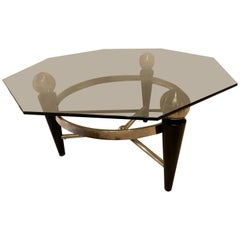 Modern Hexagonal Coffee or Low Table with Smokey Glass Top