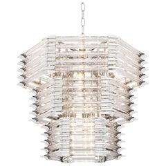Modern Hexagonal Glass Nickel Chandelier Eichholtz Wren Ceiling Light