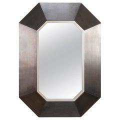 Modern Hexagonal Mirror in Brushed Steel Frame in the Manner of Maison Jansen