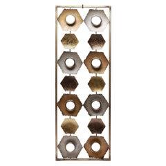 Modern Hexagonal Motif Metal Wall Sculpture