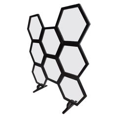 Modern Hexagonal Room Divider Screen Wood and Glass