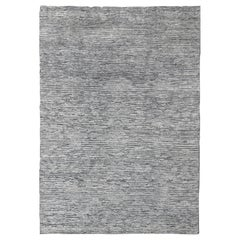 Modern Hi-Low Minimalist Design Rug in Solid White Color Pile and and Gray Weft