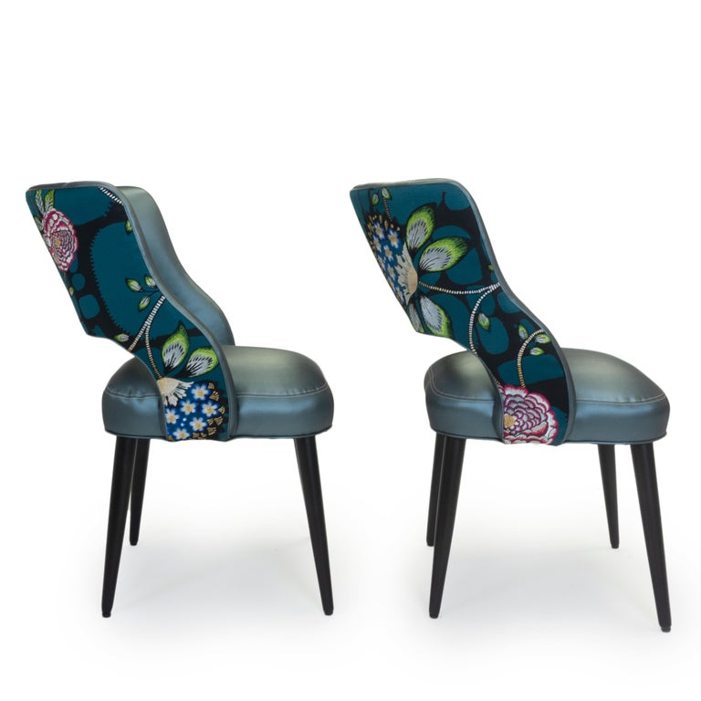 Embroidered Curvy High Back Dining Room Chairs For Sale