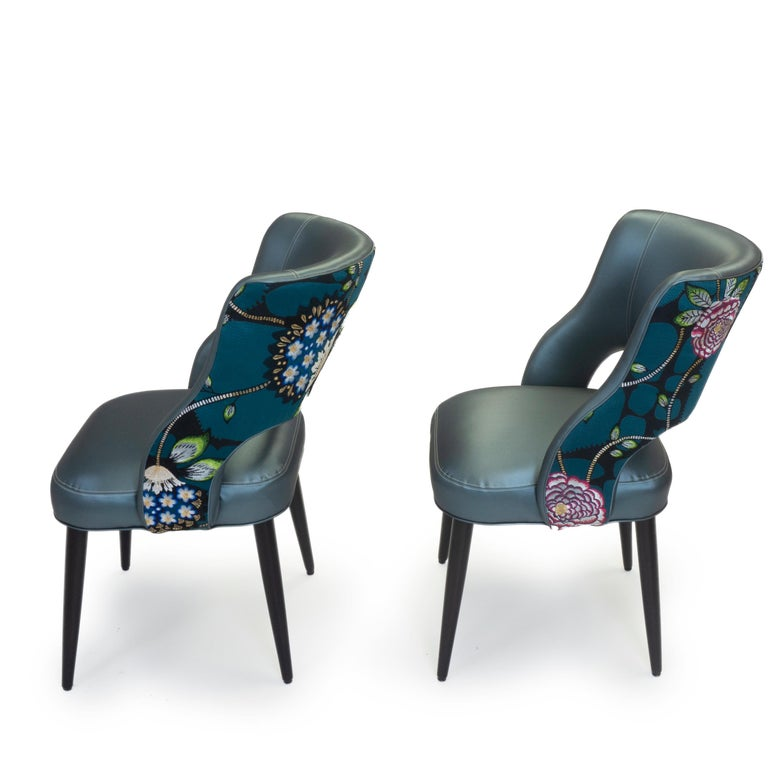 Jacquard Curvy High Back Dining Room Chairs For Sale