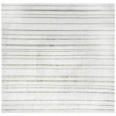 Modern High-Low Dusty Green and White Flat-Weave Wool and Silk Rug