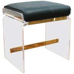 Modern Hollis Jones Style Lucite & Chromed Metal Vanity Stool