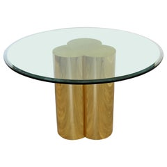 Modern Hollywood Regency Brass Glass Trefoil Dinette Table Attributed to Jere