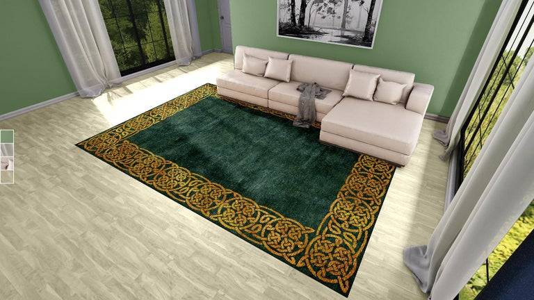 A beautiful new and made to order Hollywood Regency or Art Deco carpet, hand knotted using finest Chinese mulberry silk and Tibetan Highland Wool. The design features typical elements of that periods. Construction This artwork has a pile made of