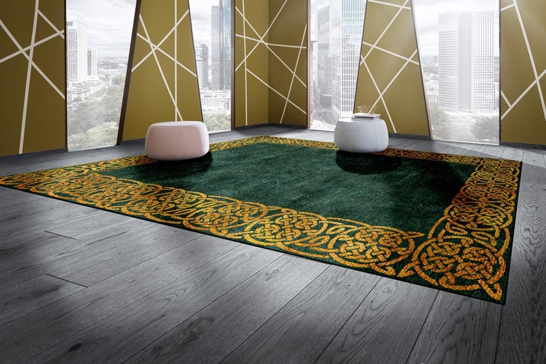 Hand-Knotted Modern Hollywood Regency Emerald Gold Interior Design Rug Wool Silk Hand Knotted For Sale