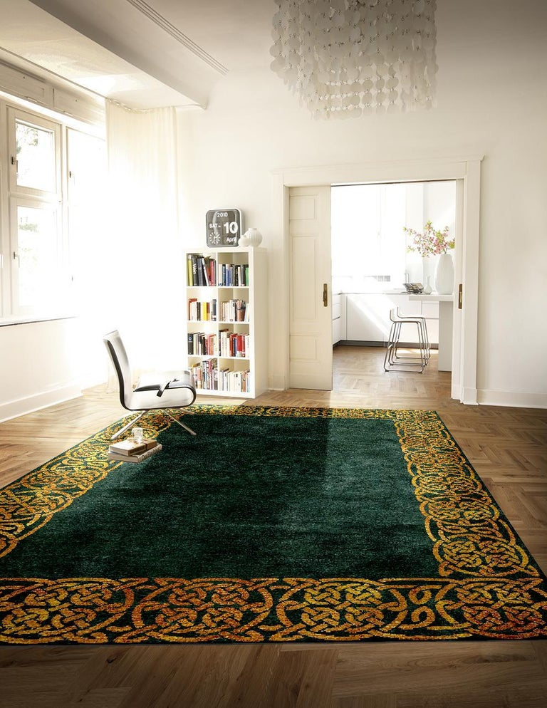 Modern Hollywood Regency Emerald Gold Interior Design Rug Wool Silk Hand Knotted In New Condition For Sale In Lohr, Bavaria, DE