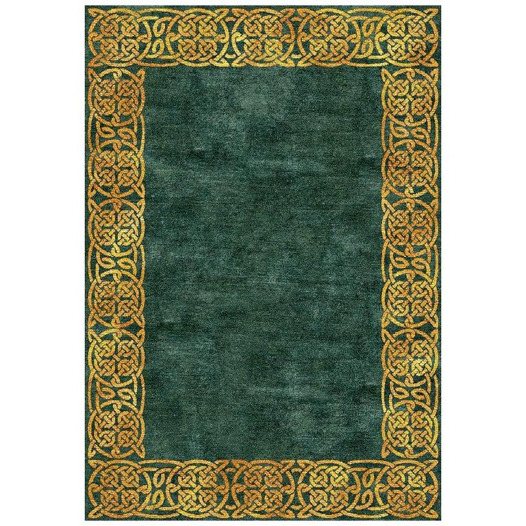 Modern Hollywood Regency Emerald Gold Interior Design Rug Wool Silk Hand Knotted For Sale