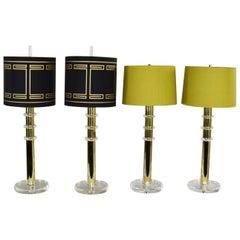 Modern Hollywood Regency Lucite & Brass Plate Lamps 2 Pair Style Karl Springer