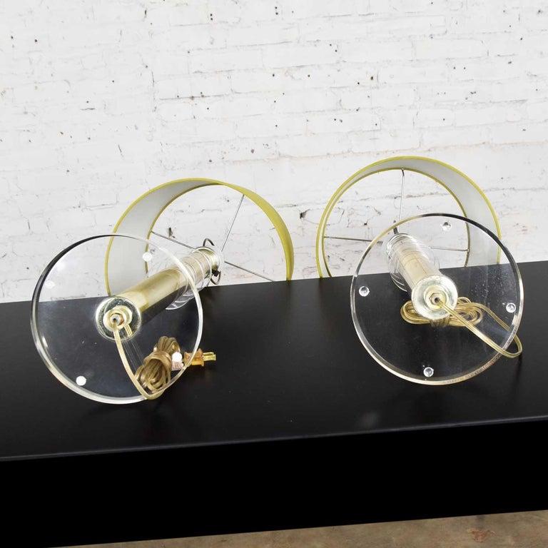 Modern Hollywood Regency Lucite & Brass Plate Lamps a Pair Style Karl Springer 11