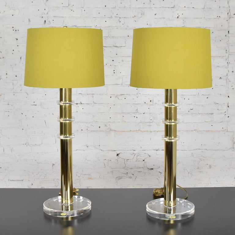 American Modern Hollywood Regency Lucite & Brass Plate Lamps a Pair Style Karl Springer