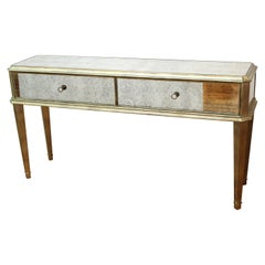 Modern Hollywood Regency Mirrored Console with Drawers