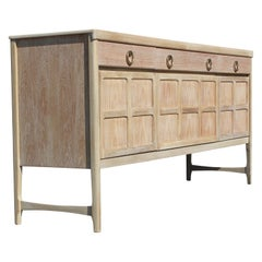 Modern Hollywood Regency Natural Finish Sideboard with Brass Ring Handles