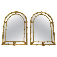 Modern Hollywood Regency Pair of Monumental Italian Gold Gilt Arched Art Mirrors