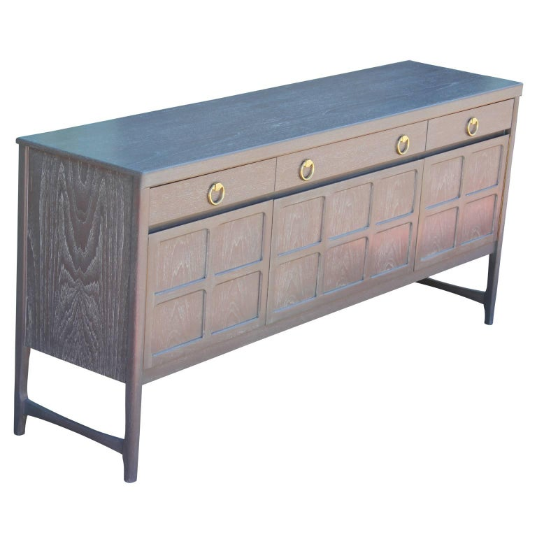 Mid-20th Century Modern Hollywood Regency Sideboard with a Grey Cerused Finish & Brass Hardware