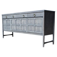 Modern Hollywood Regency Sideboard with a Grey Cerused Finish and Brass Hardware