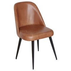 Modern Honey Leather Dining Chair with Steel Base Black Conical Legs