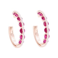 Modern Hoop Earrings, White Diamonds and Red Rubies