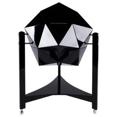 Modern Ico Parisi Rolling Bar Cart, Black Lacquer & Chrome Polyhedron Shaped