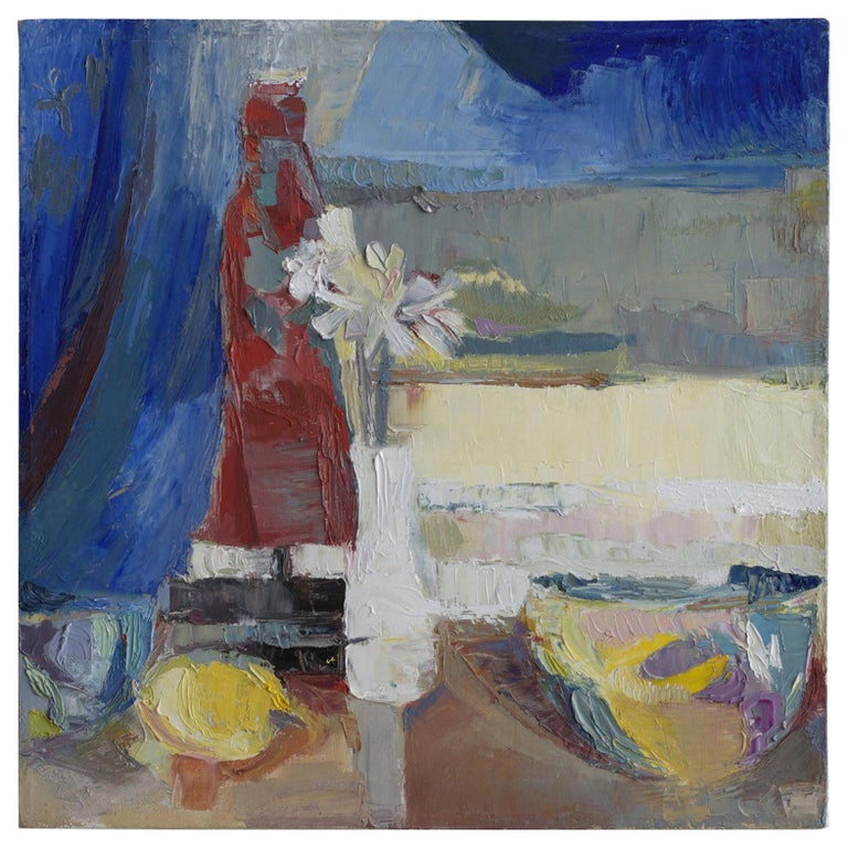 A loose and gloriously chaotic still life acrylic on canvas painting. The vintage work of art has a complex palette and loose movement and at certain instances, deep impasto knife technique. Painting is unsigned. Certainly this still life resides in