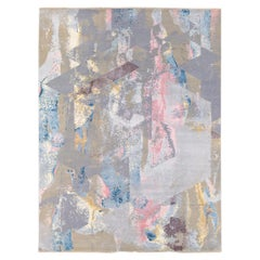Modern Indian Abstract Handmade Multicolor Wool and Silk Rug