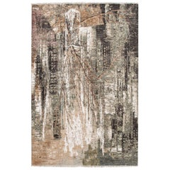 Modern Indian Copper and Green Abstrac Expressionist Handmade Wool and Silk Rug