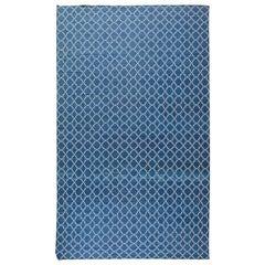 Modern Indian Dhurrie Deep Indigo Blue & White Rug