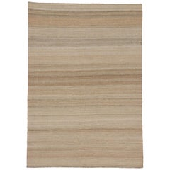 Modern Indian Dhurrie Flat-Weave Kilim Rug with Warm, Neutral Colors