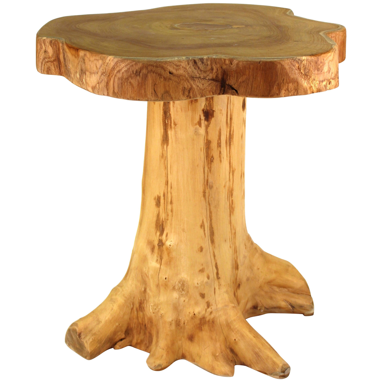 Modern Indonesian Wood Tree Trunk Side Table