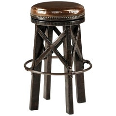 Modern Industrial Bar Stool, Dark Ale Finish