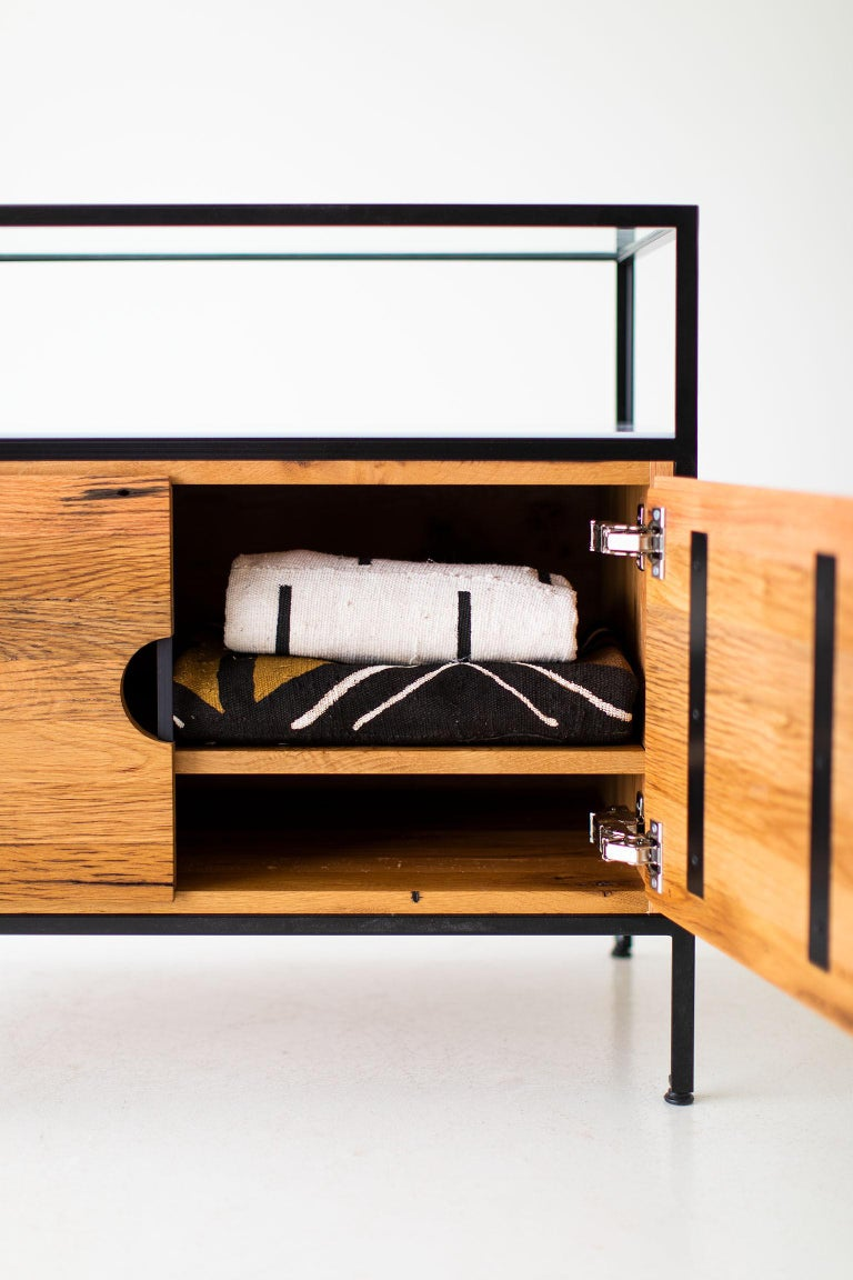 North American Modern Industrial Chest in Reclaimed Oak For Sale
