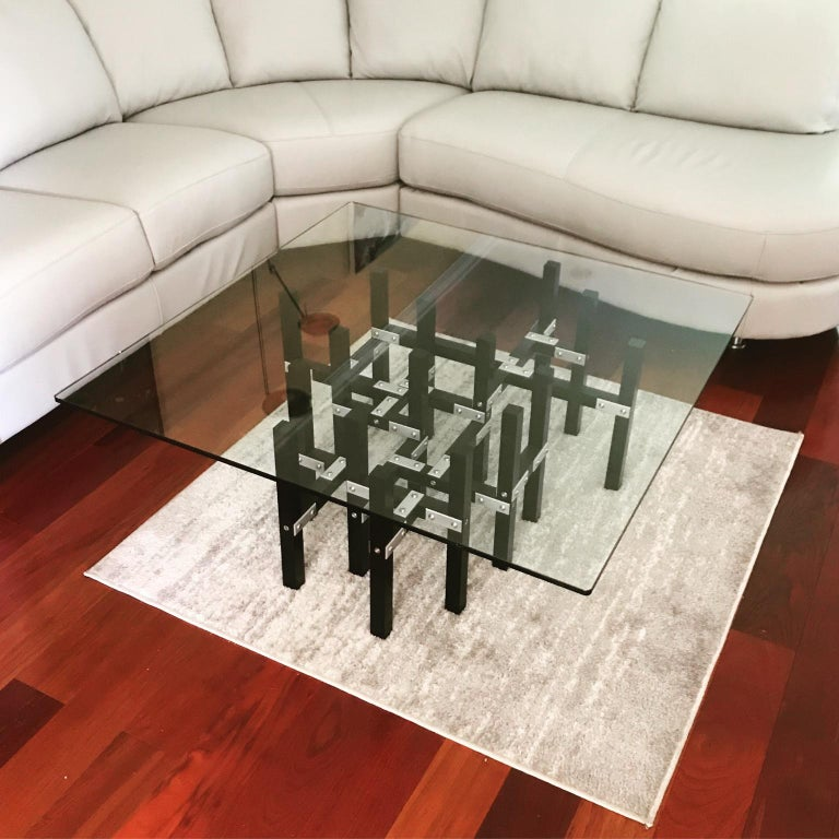Modern Industrial Coffee Table with Glass Top Metal and Black Wood In New Condition For Sale In Middle Grove, NY