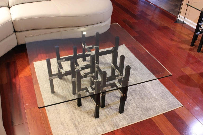 Contemporary Modern Industrial Coffee Table with Glass Top Metal and Black Wood For Sale