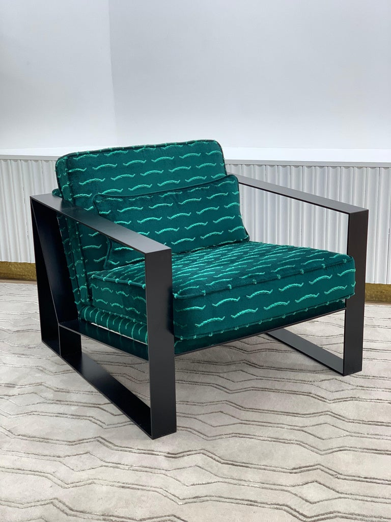 Modern Industrial Cronos I Armchair in Steel Powder Coated and Velvet In New Condition For Sale In London, GB